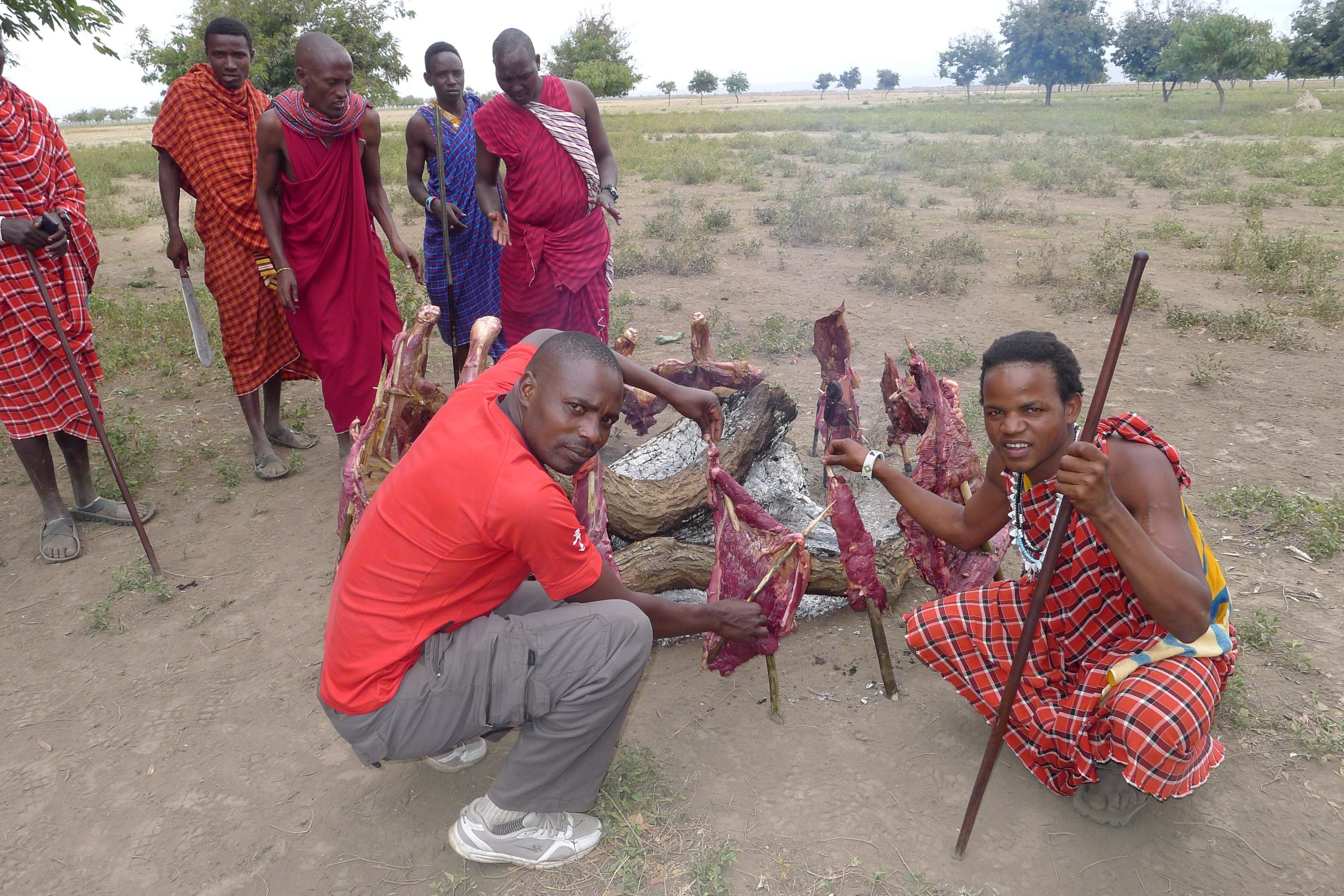Making barbeque with the Maasai